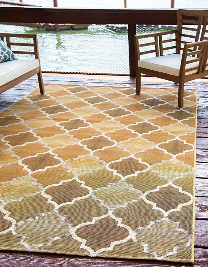 Amazon Com Unique Loom Outdoor Trellis Collection Moroccan Lattice Transitional Indoor And Outdoor Flatweave Gold Area Rug 8 Outdoor Trellis Trellis Rug Rugs