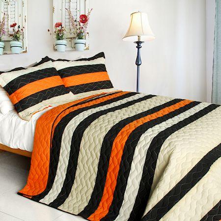 Modern Striped Black U0026 Orange Teen Boy Bedding Full/Queen Quilt Set  Oversized Cotton Bedspread