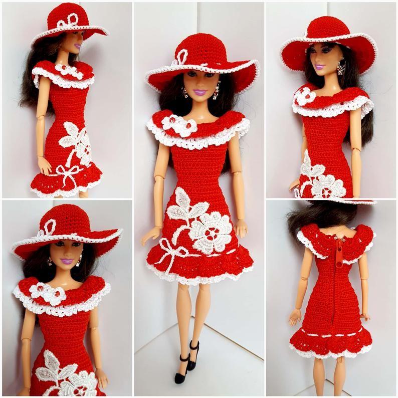 Barbie clothes, Barbie crochet dress, Barbie for baby, crochet set, dress and hat
