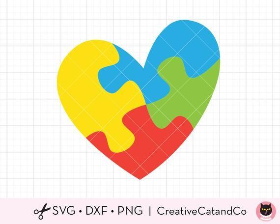Autismus Puzzle Herz SVG DXF, Autismus Bewusstsein Puzzle Herz, Autismus autistische Symbol, Svg Dxf geschnittene Datei für Cricut und Silhouette   – Products