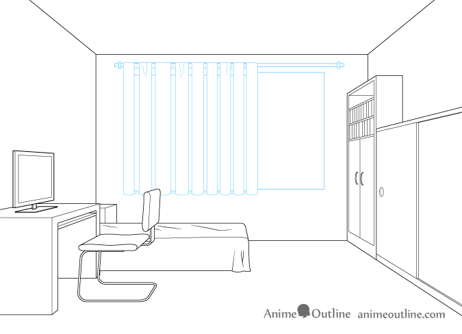 One Point Perspective Drawing Window Curtains One Point Perspective Room Room Perspective Drawing Perspective Room