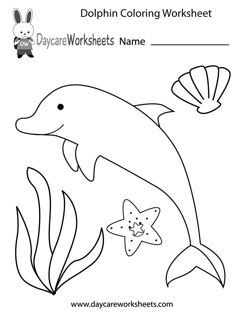Colouring shapes activities - Preschoolers Can Color In A Dolphin Starfish Seashell And An Aquatic Plant In