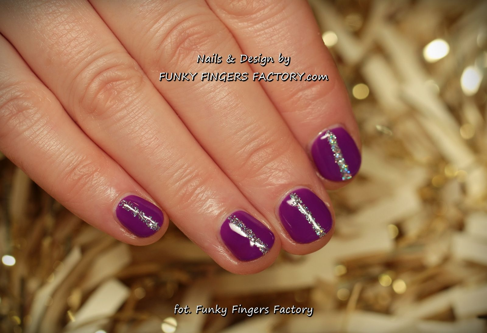 Purple Ans Silver Gelish New Years Manicure On Short Bitten Nails By