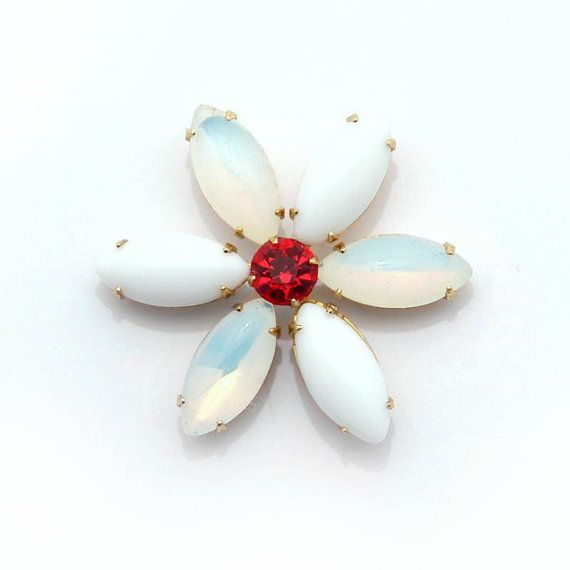 36mm flower setting with vintage opal and white by MoonSpheres