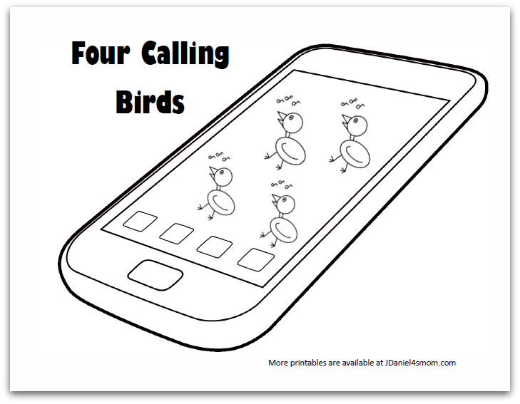 four calling birds coloring page - Cell Phone Coloring Pages