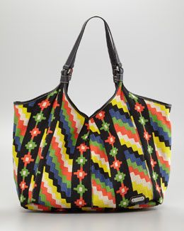 """Rafe """"Playa"""" Caribe Jute Shopper Bag, Black multi print. Big, roomy, lightweight and fits more than you need for the beach and the city! available at @Neiman Marcus"""