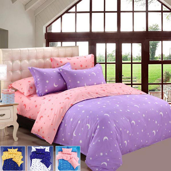 4Pcs Suit Star Moon Cotton Reactive Printed Bedding Sets
