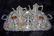 Reed & Barton Tea Set 5 Piece Pattern 3224 +  English Handled Tray  Silver Plated  - 19th/20th Century, USA SOLD