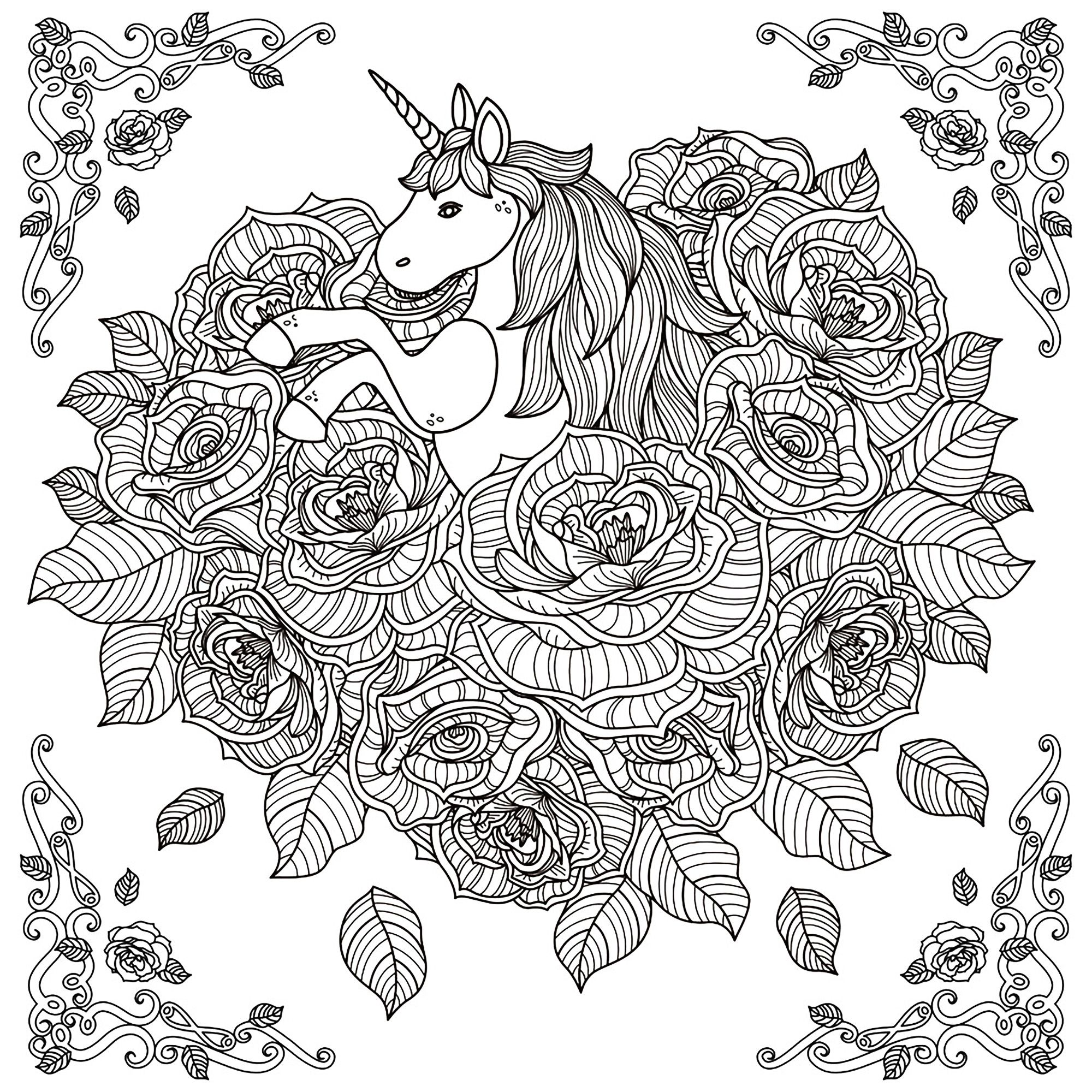 Black and white pattern for coloring book for adults with
