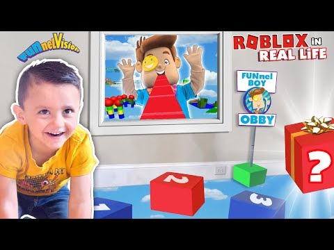 (3) Shawn's ROBLOX OBBY in REAL LIFE! FUNnel BOY OBSTACLE