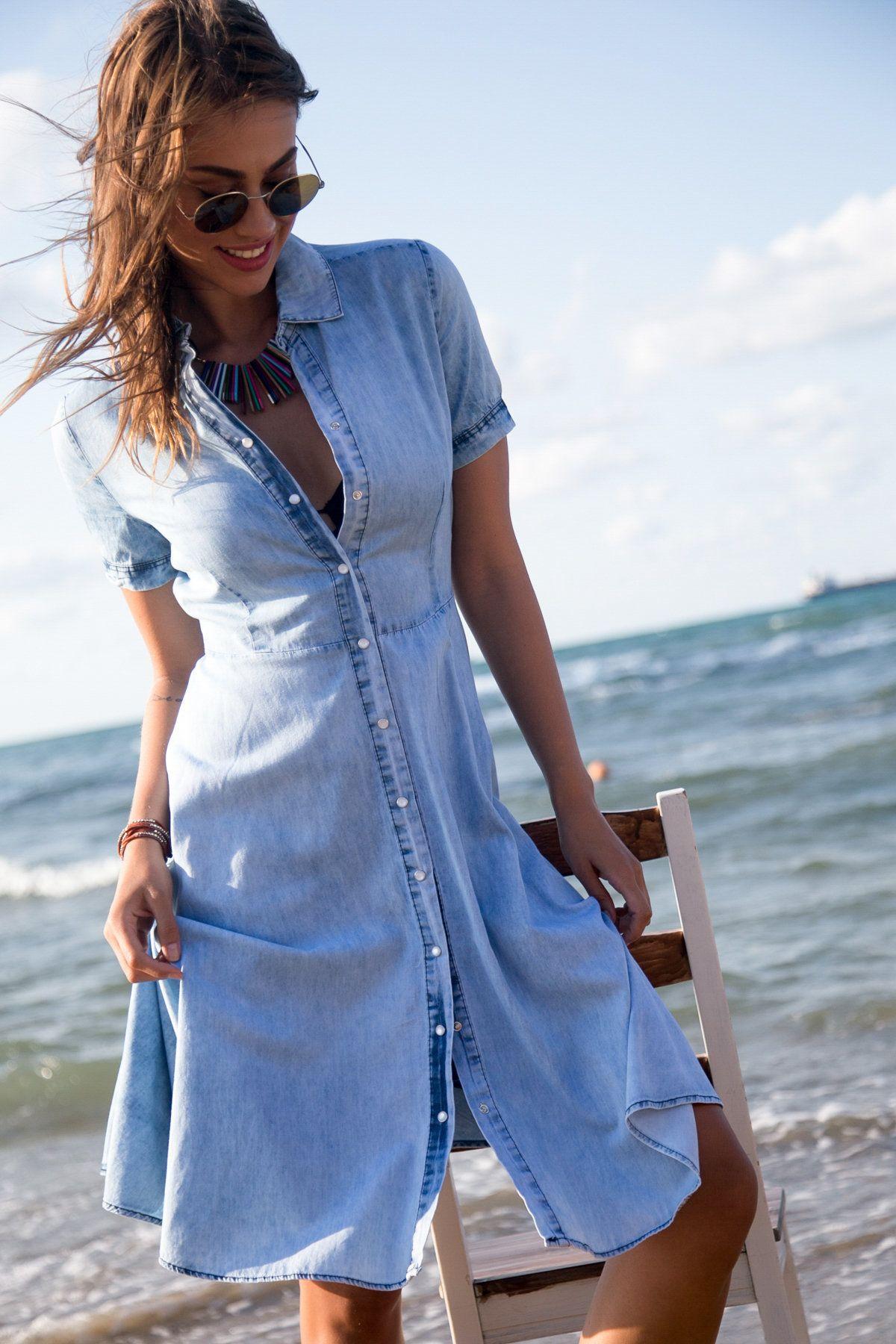 Kadin Mavi Kot Elbise Happiness Ist Trendyol Kot Elbiseler Moda Stilleri Gomlek Elbise