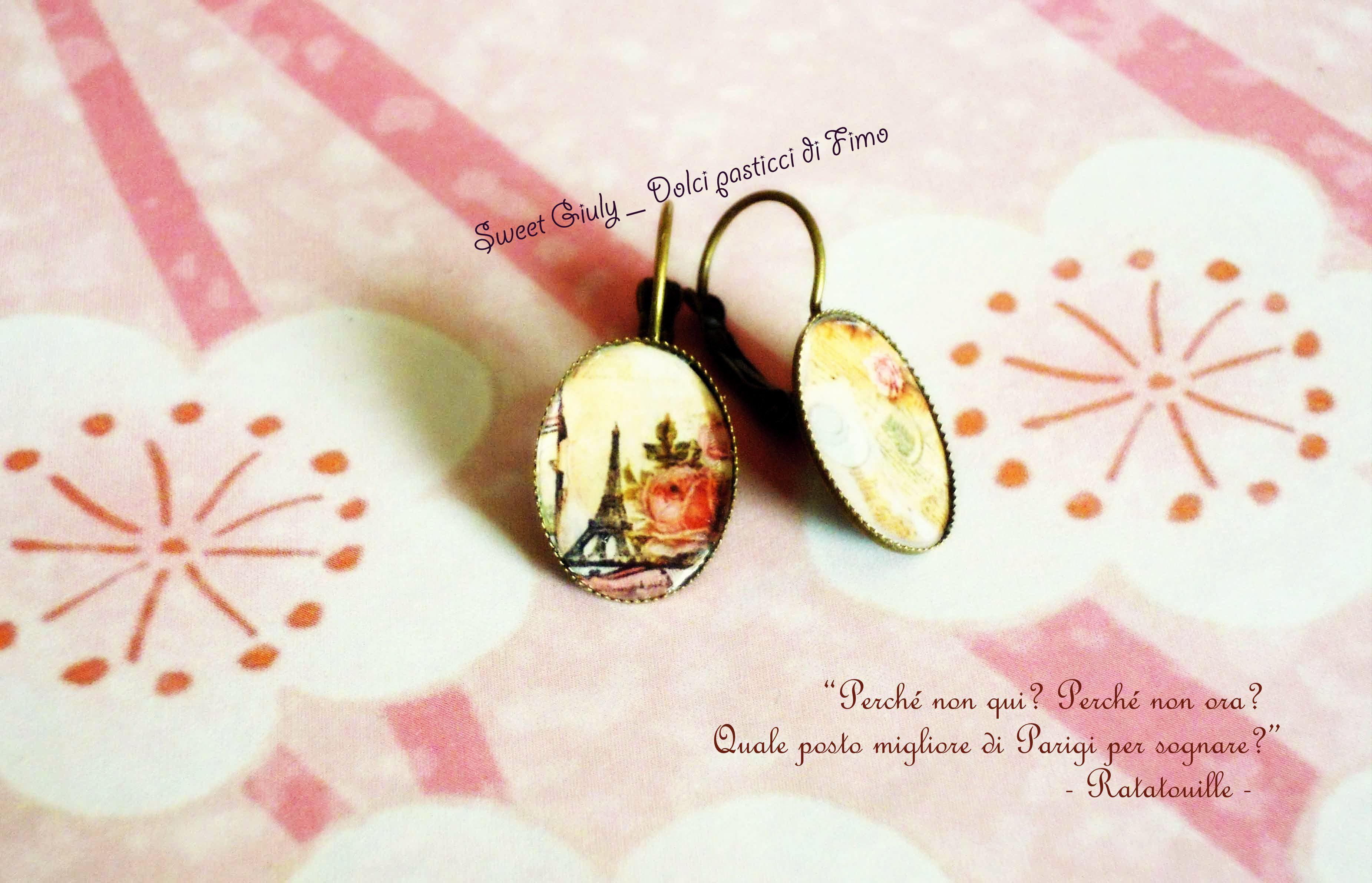 """Orecchini """" From Paris with Love """" - mini cammei. Fonte: www.facebook.com/SweetGiulyDolciPasticciDiFimo #bijoux"""