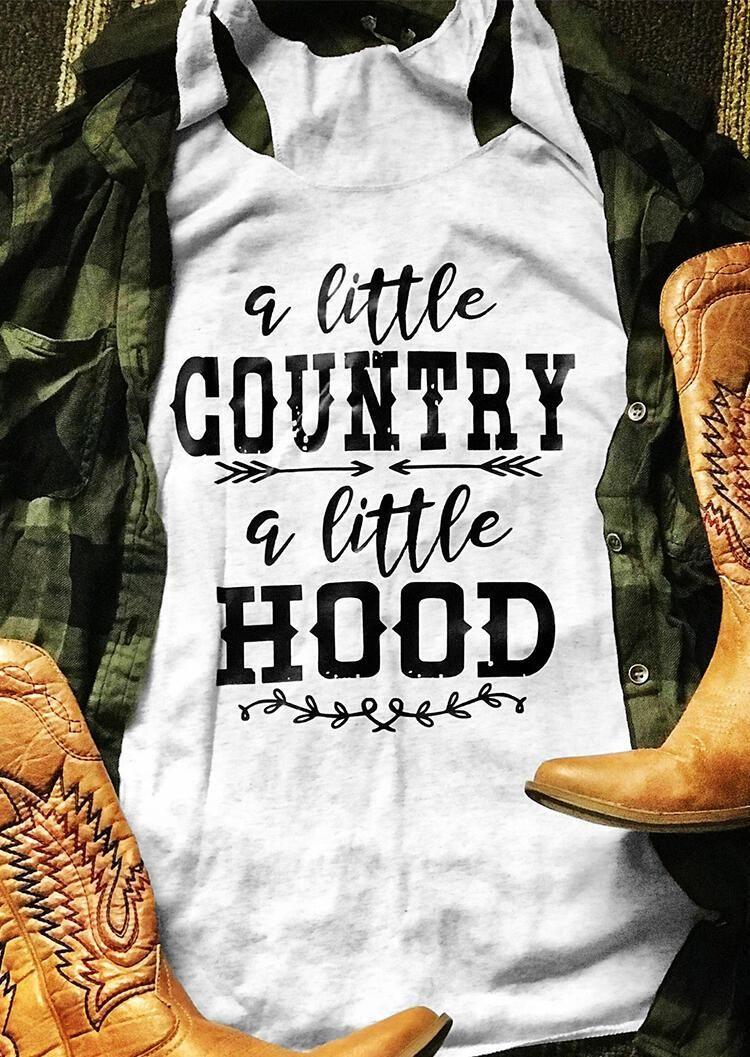 Women Sleeveless Tee A Little Country A Little Hood - XL