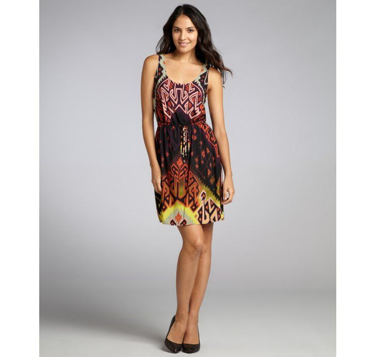 Donna Morgan black, taupe and orange printed 'Bright Dawn' cross back dress
