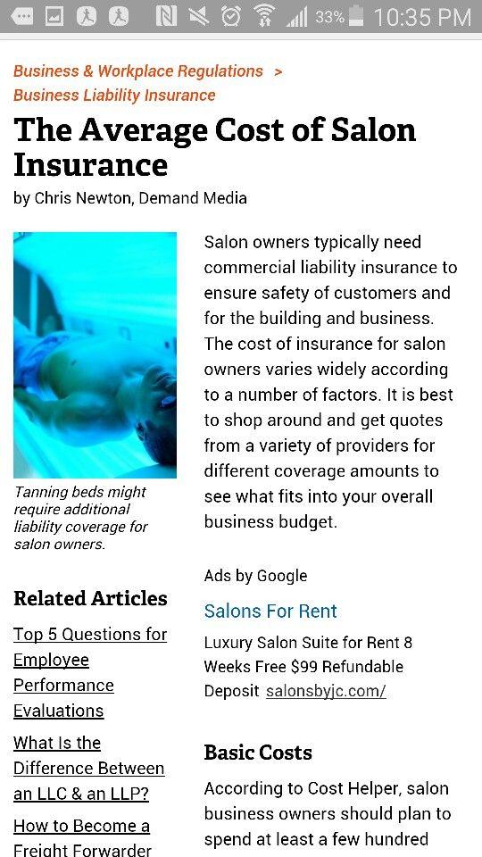 Average cost of salon insurance. Business liability