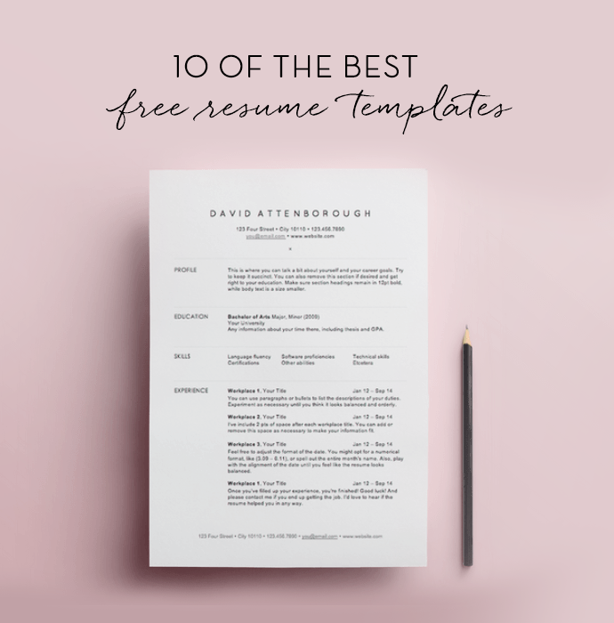 Superior 10 Free Resume Templates.