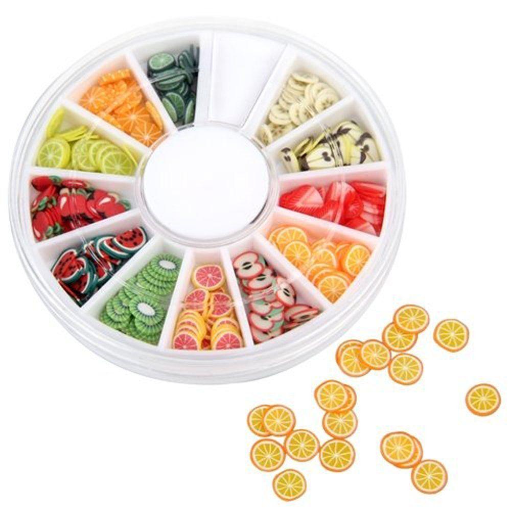 SODIAL(R) 240 Fruit Slice Nail Art Tips UV Gel Decoration + Wheel ...