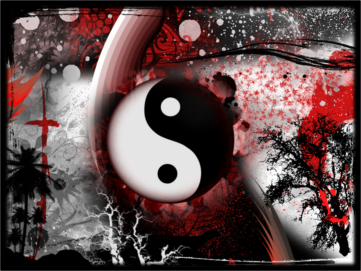 I Love The Yin Yang The Cross And The Red In This Piece Very Spiritual Red And White Wallpaper Red Color Background Red Pictures