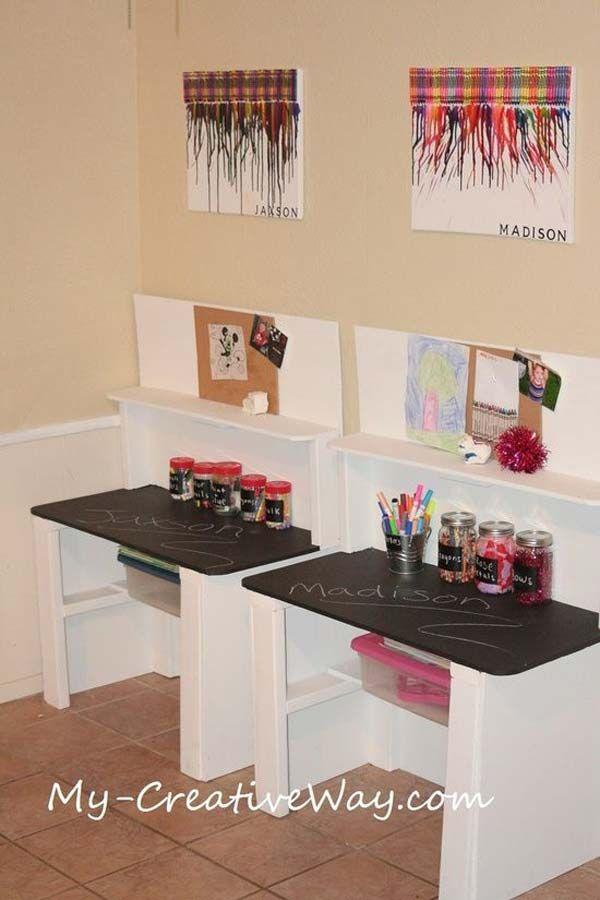 24 Uzitocnych Napadov Na Detske Pracovne Stoly Desk For Girls Room Kids Art Centers Kids Homework Station