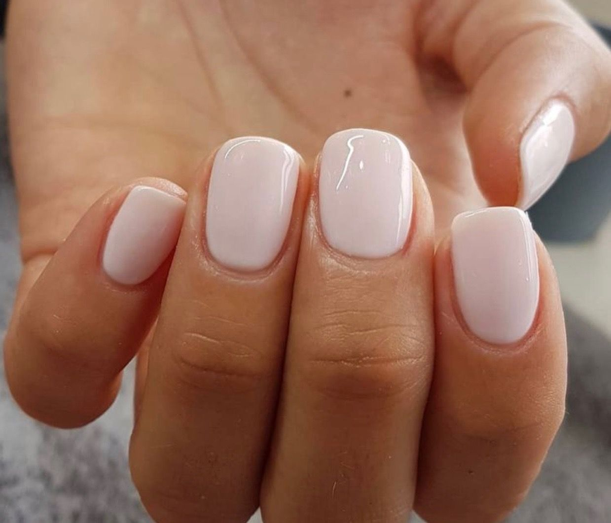 Short Beautiful Square Shaped Natural Nails With Opi S Let S Be Friends In Gel Polish This Opaque Shade Is The Most P Dipped Nails Pretty Nail Colors Nails