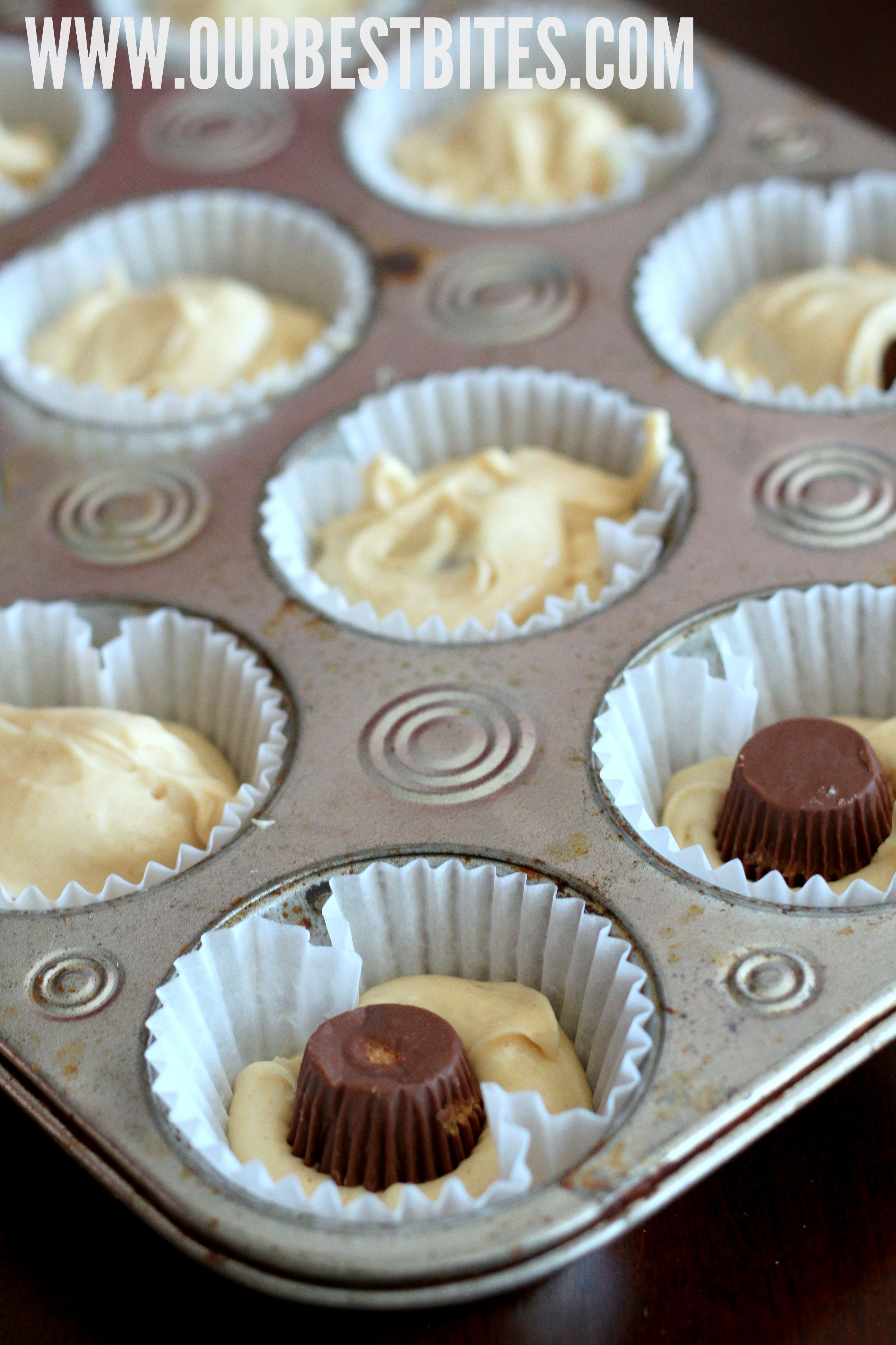 chocolate cupcakes with reese\'s peanut butter cups inside