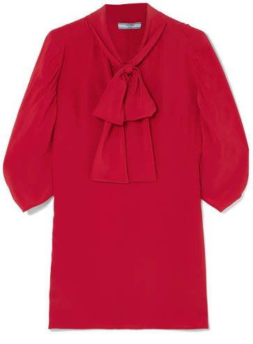 fd8193eb625608 Prada Pussy-bow Silk Crepe De Chine Blouse - Red