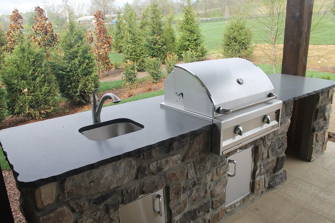 Black Pearl Leathered Granite on an Outdoor Kitchen | Our ...