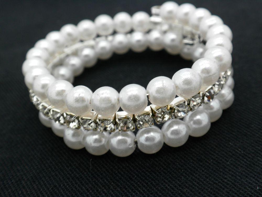 S Pearl Bracelet Beaded Age 4 8 Safe Lead Free Rhinestone Toddler Sengems