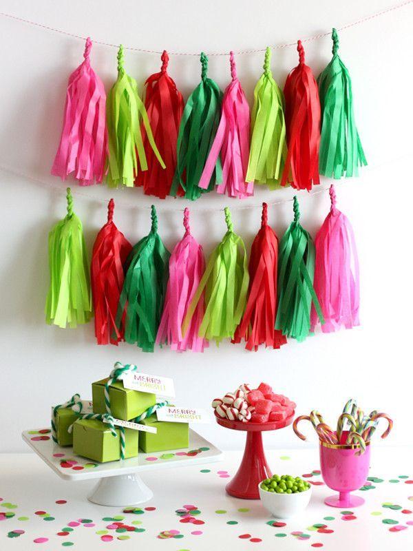 Merry  Bright Christmas Fringe Tassel Garland Kit or Fully