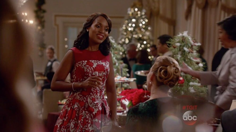 Carolina Herrera Lamé Rose Jaquard Dress as seen on Olivia Pope in Baby, It's Cold Outside   TheTake
