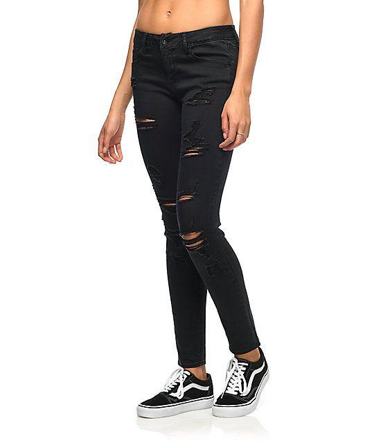 Empyre Tessa Shredded Black Skinny Jeans | Black ripped