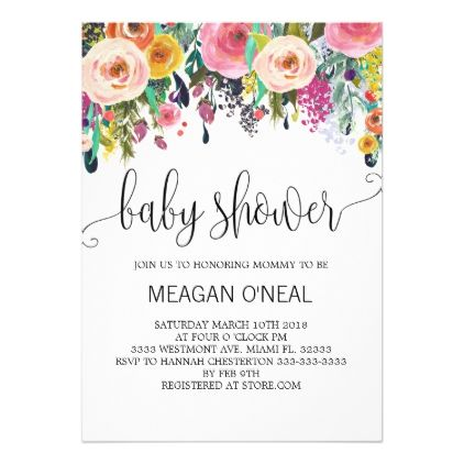 Floral Baby Shower Invitation Girl Baby Shower Card  Shower