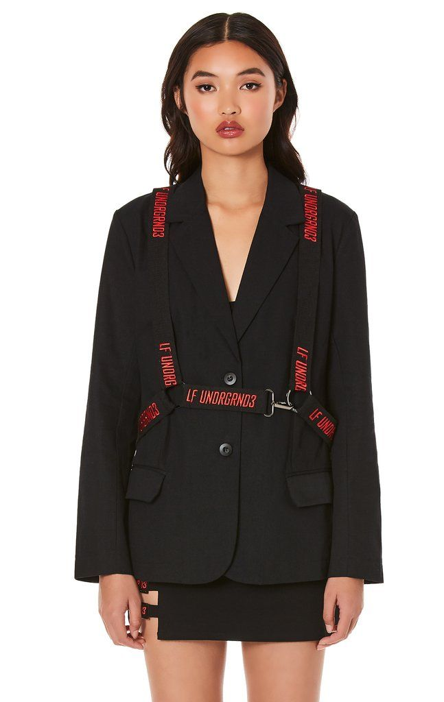 Jacket with embroidered suspender harness   Looks, Look e Terno