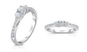 1 4 Cttw Certified 3 Stone Diamond Ring In 10 Karat White Gold By Diamond Affection 3 Stone Diamond Ring White Gold White Gold Band