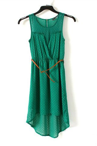 Dot Jacquard Asymmetric Hem Sleeveless Dress. Really loving the asymmetrical hems