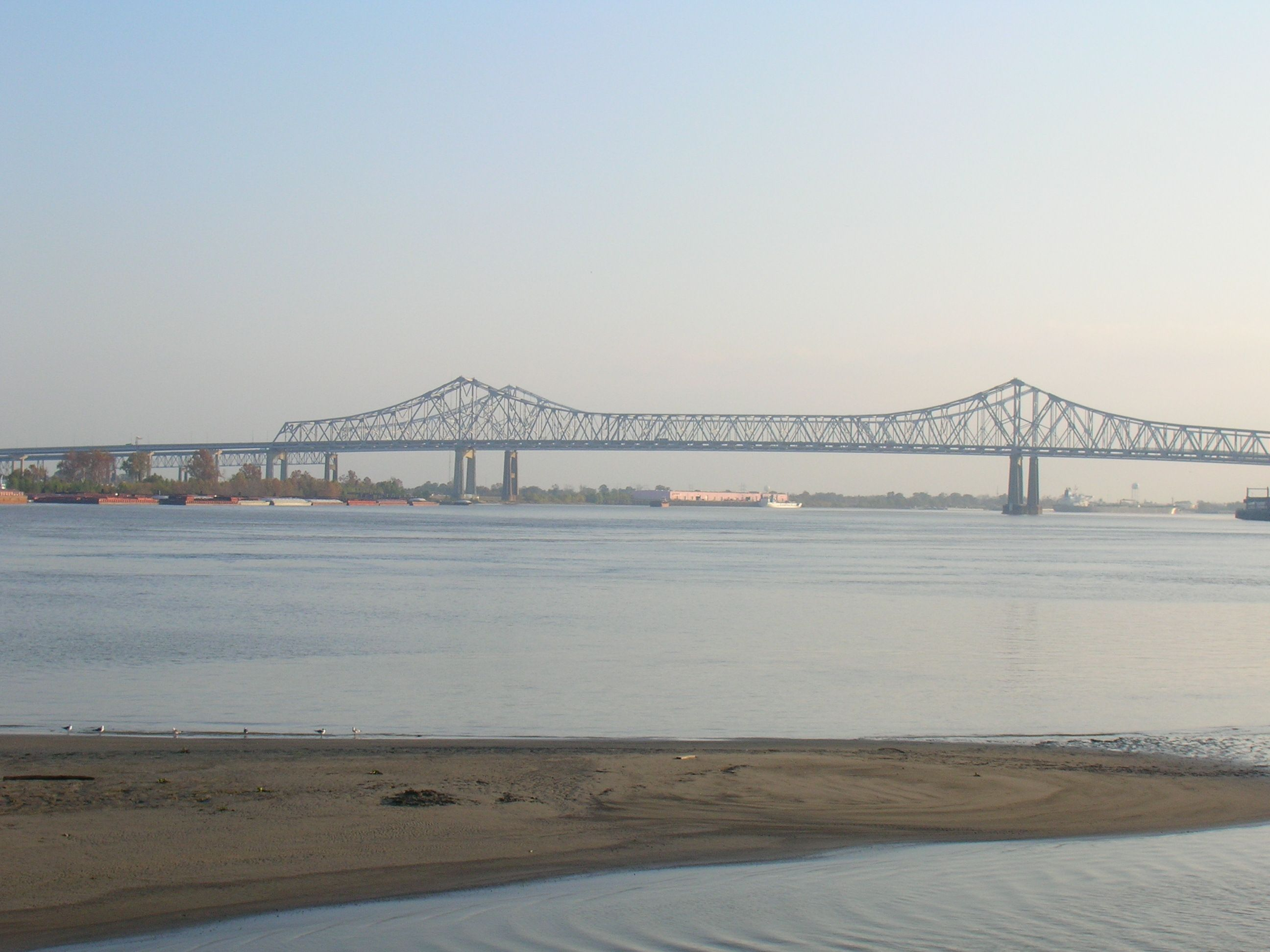 Mississippi River New Orleans- Crescent City Connection in background