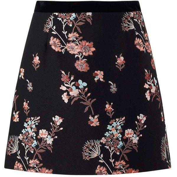 Miss Selfridge Black Floral Jacquard Skirt ($61) ❤ liked on Polyvore featuring skirts, black, jacquard skirt, miss selfridge, floral print skirt, floral jacquard skirt and floral skirt