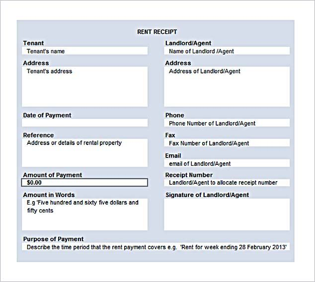 Rent Receipt Format In Excel Free Rent Receipt Template And What