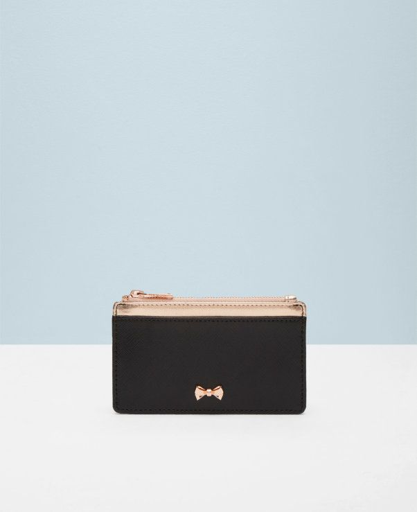 Bow leather coin purse
