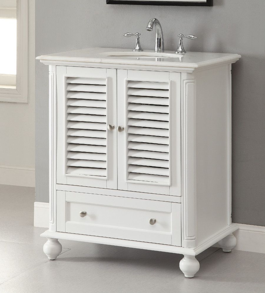 30 Shutter Blinds Keysville Bathroom Sink Vanity GD 1087W White Bat