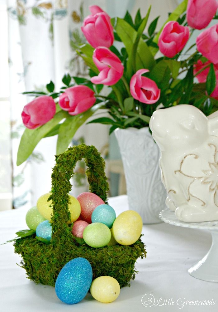 Diy moss basket for an easter table easter simple diy and diy moss basket for an easter table negle Gallery