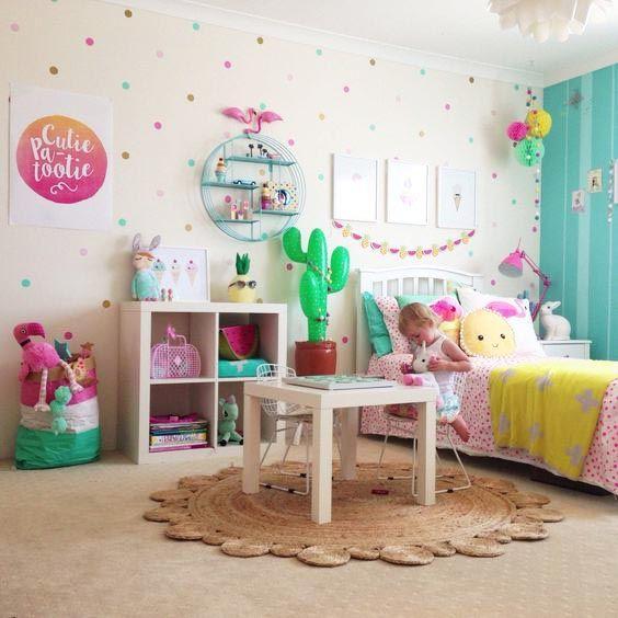 Decoración habitación infantil niñas con topos de colores Ideas