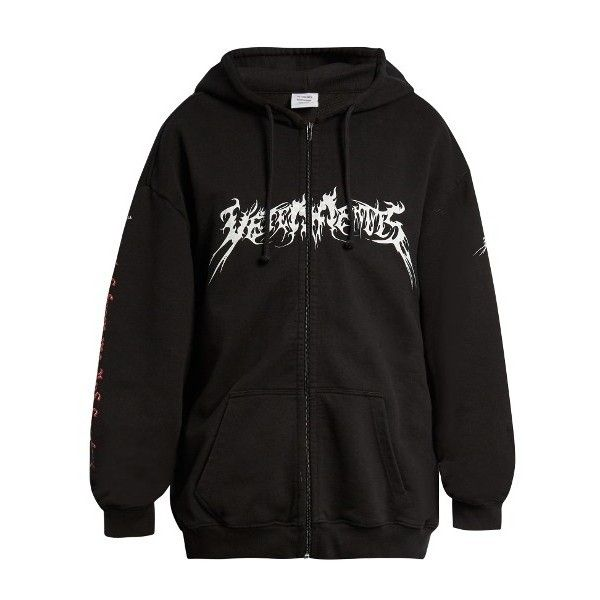 Vetements Total Darkness-print hooded sweatshirt (€1.170) ❤ liked on  Polyvore featuring · Men's HoodiesHooded SweatshirtsBlack CottonSlogan Fashion ...