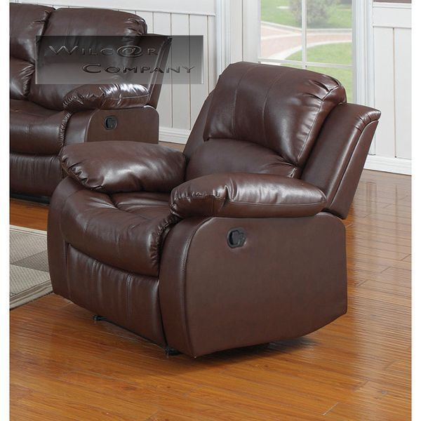 New Brown Rocker Recliner Leather Lazy Boy Rocking Chair Furniture