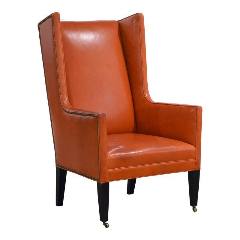 Cool Modern Orange Leather Wingback Chair Products In 2019 Gmtry Best Dining Table And Chair Ideas Images Gmtryco