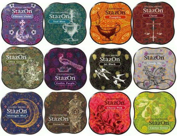 STAZON SOLVENT MIDI INK PAD 17 Colour Choices MULTISURFACE USE