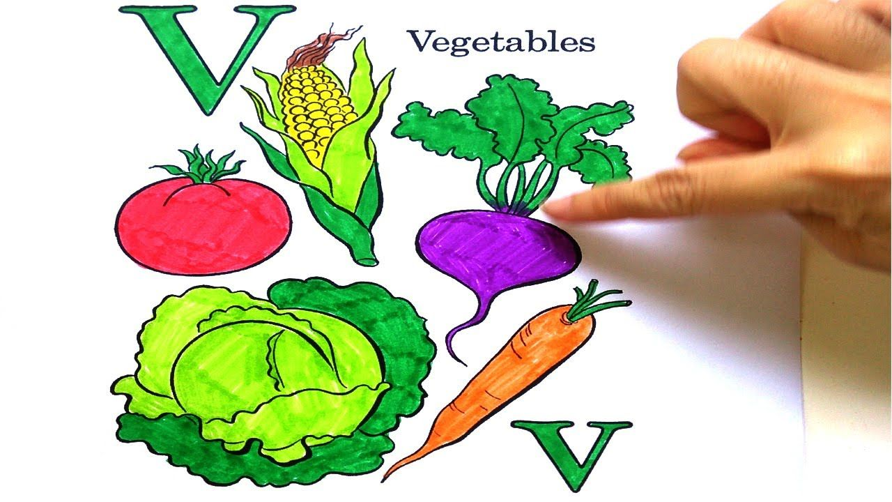 Draw and color Fruit Vegetabes and Coloring Alphabet ABC | Kids ...