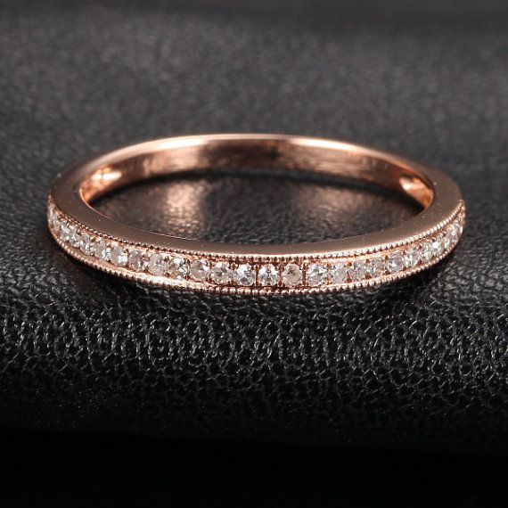Solid 14K Rose Gold Wedding Band Milgrain Pave H/SI by TheLOGR - my size