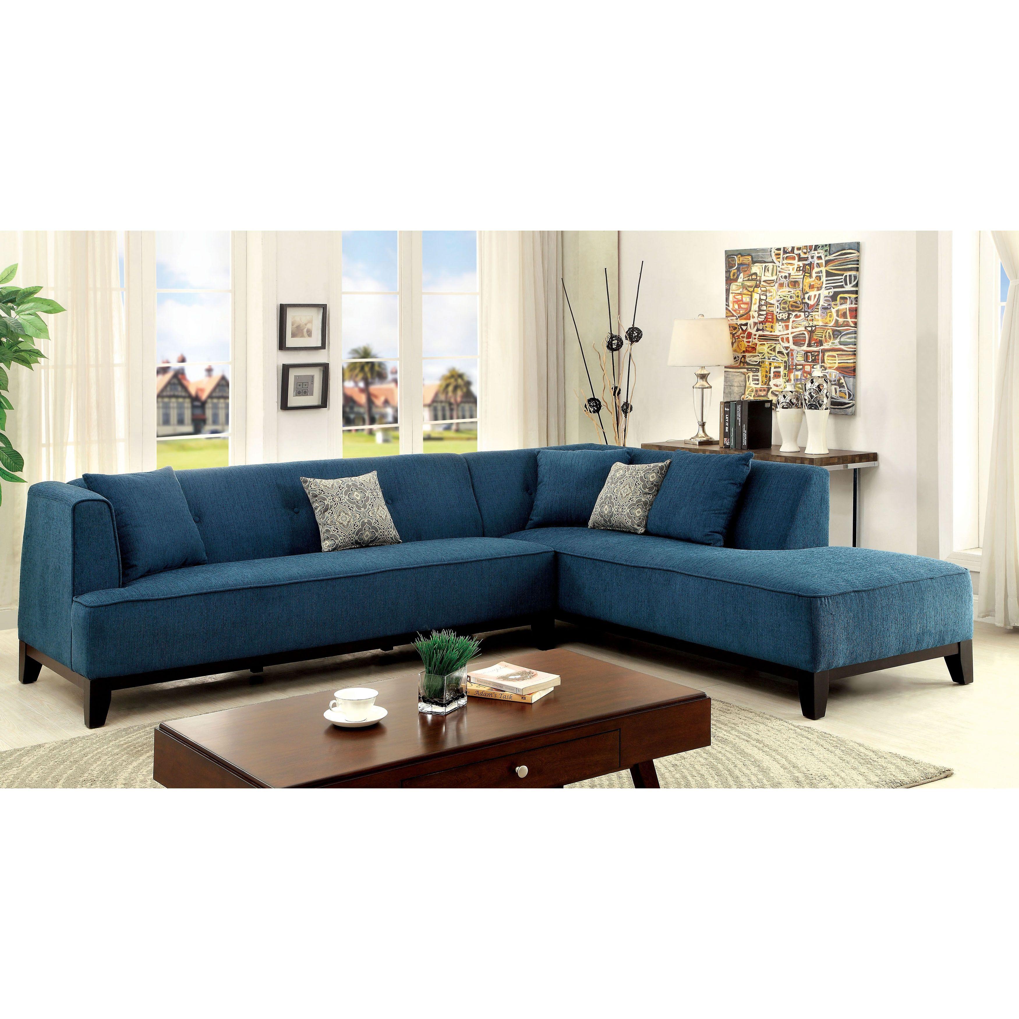 Furniture of America Esmone Modern Tuxedo Linen Sectional Beige
