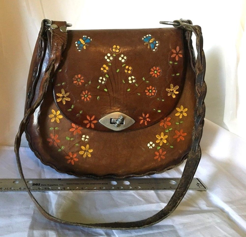 f355d9d2244 Vintage Leather Hippie Purse Handmade Tooled Boho Painted Bag 1970s Flower  Child #Handmade #ShoulderBag